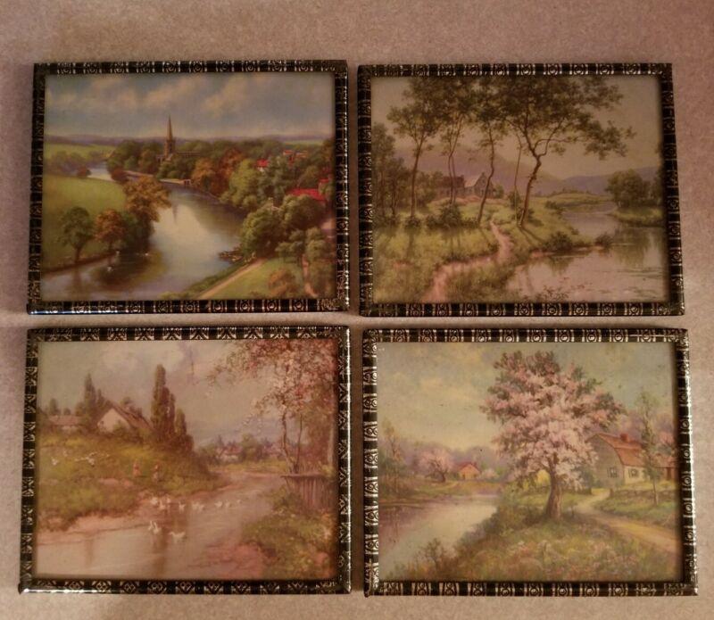 Set of 4 Vintage Framed Landscape Pictures Wall Hangings Metal Frames