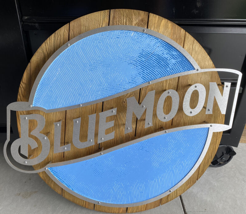 NIB! Blue Moon Brewery Large Wood Pop Out Beer Sign