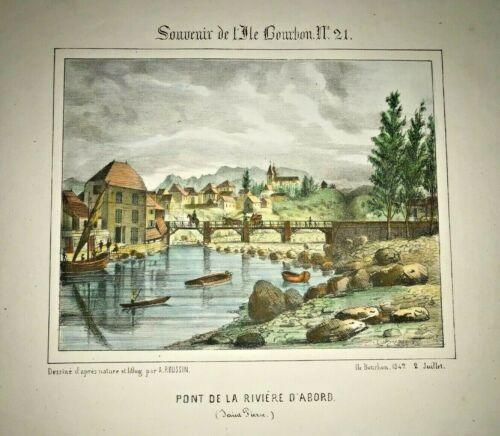 REUNION ISLAND SAINT PIERRE 1847 ROUSSIN LARGE NICE ANTIQUE VIEW 19TH CENTURY