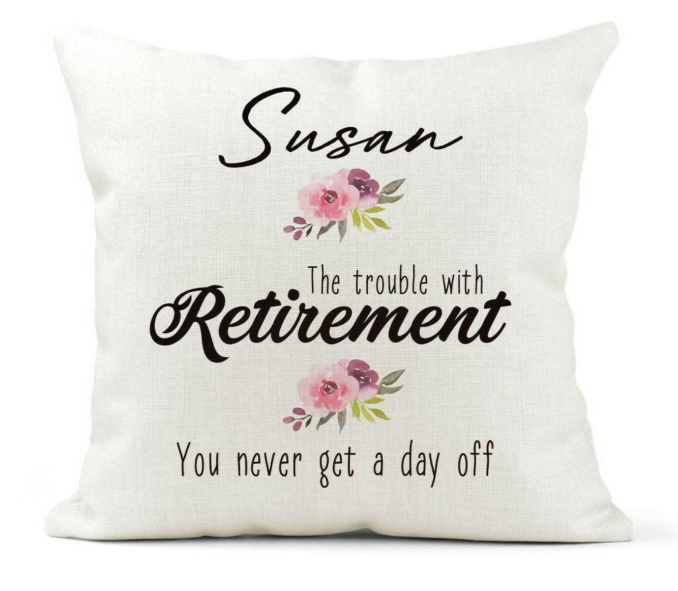Personalised Retirement Gift Cushion For Her, Mum, Nan, Coll