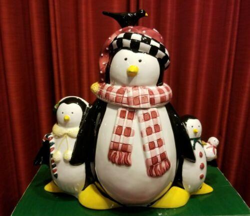 Penguin Family Christmas Earthenware Cookie Jar Debbie Mumm Sakura NIB