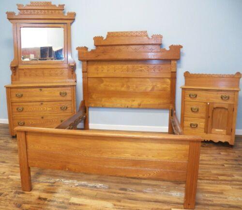 Antique Chestnut Bedroom Set Bed, Dresser, Mirror & Washstand 1890 Eastlake