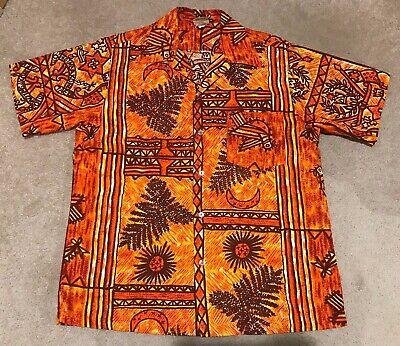 656f891a Vintage Tapa Designs Hawaii Hawaiian Shirt Cotton Coconut Cloth Large