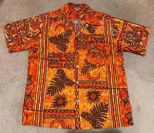 Vintage Tapa Designs Hawaii Hawaiian Shirt Cotton Coconut Cloth Large