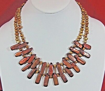 VTG GOLD CULTURED FW PEARL & MOP CHUNKY BIB NECKLACE 925 STERLING SILVER CLASP