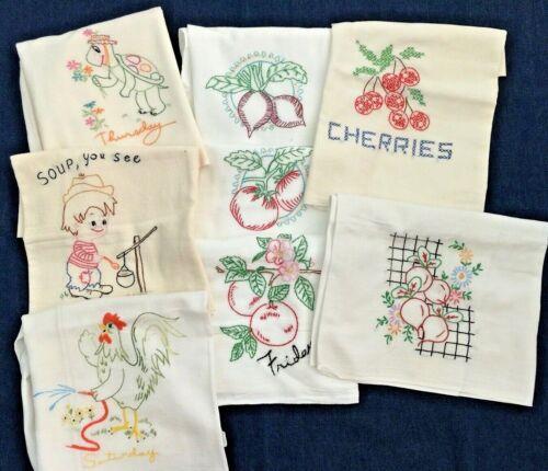 Vintage 8 Hand-Embroidered Flour Sack Muslin Dish Kitchen Towels