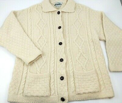 Aran Crafts Ireland Irish Woop Cable Knit Cardigan Sweater Fisherman Mens M EXC