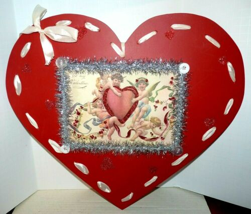 Large Wood Heart Valentine Decoration Vintage Style Ribbon Red Designs by Kathy