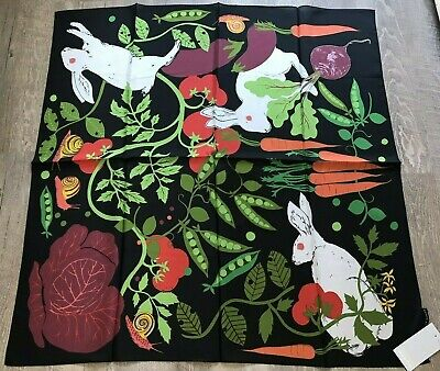 """Karen Mabon Silk Scarf Rabbits Allotment Theme Large 34"""" x 34"""" New With Tags"""