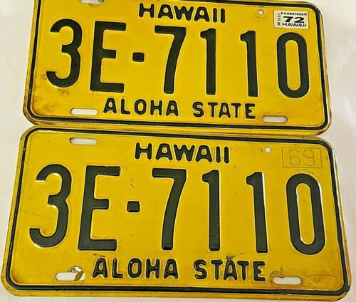 Pair of Vintage HAWAII 1969 Aloha State Yellow License Plates w/ 1972 Tags