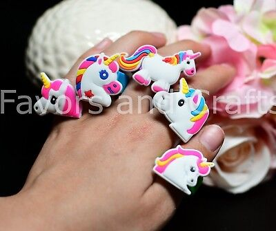 12 Unicorn Rings Party Bags Favors Recuerdos Regalo Unicornio Treat Supplies