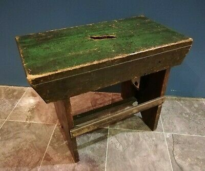 Victorian pine work stool with original green paint [E202]