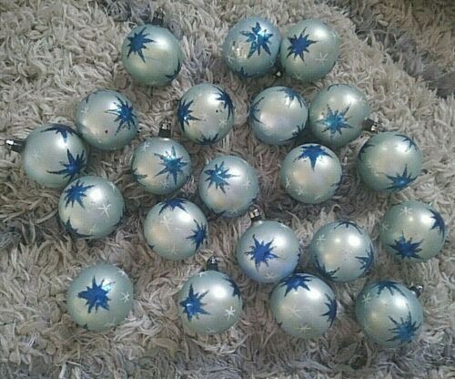 Lot of 21 1940s Poland Blown Glass Atomic Christmas Ornaments Blue White Stars