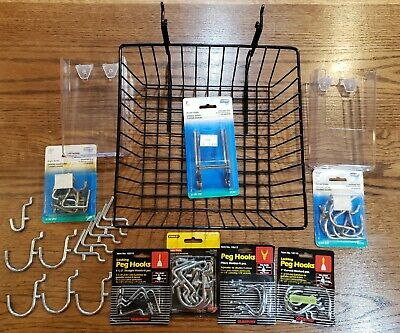 Mixed Lot Pegboard Hooks Basket Organizer Accessories 14 Inch Heavy Duty Metal