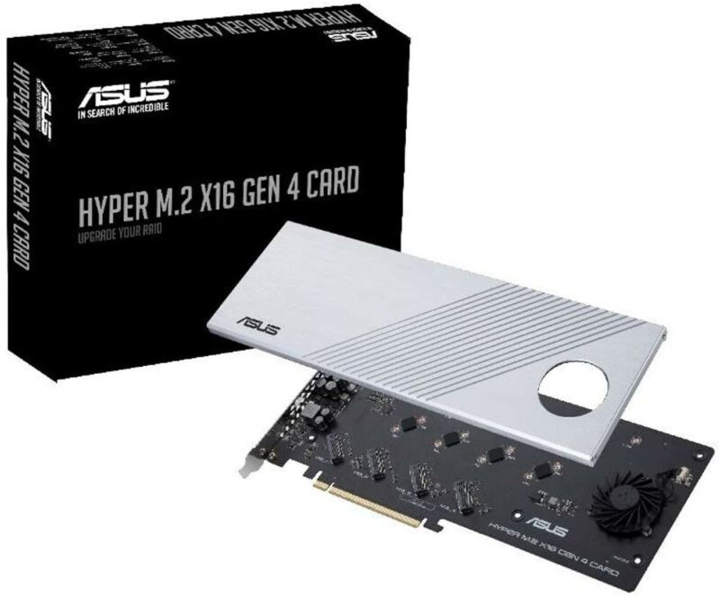 ASUS Hyper M.2 X16 PCI3 4.0 x4 Expansion Card Supports x4 NVMe M.2