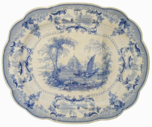 SCARCE EARLY 19TH C ENGLISH ANTIQUE SGND STAFFORDSHIRE CER PLATTER, W/GRAVY MOAT