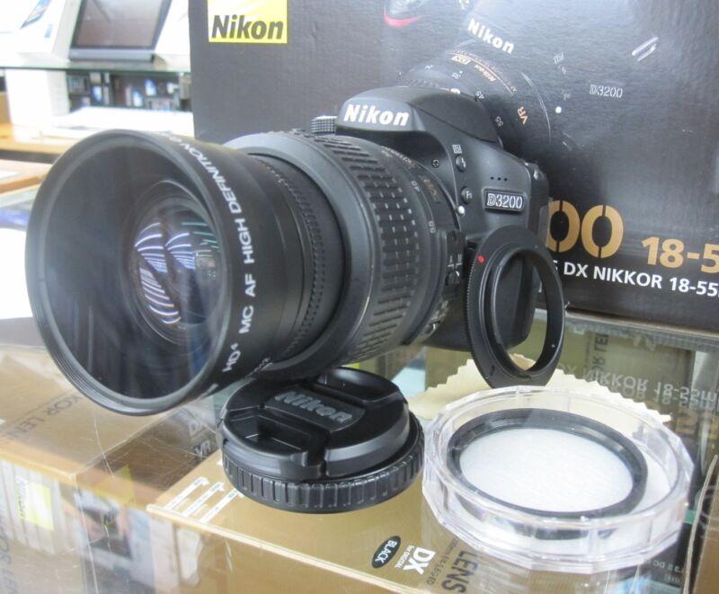 Wide Angle Macro Lens for Nikon d3200 d3100  d3000 d5100 d5000 d60 w/18-55 fld