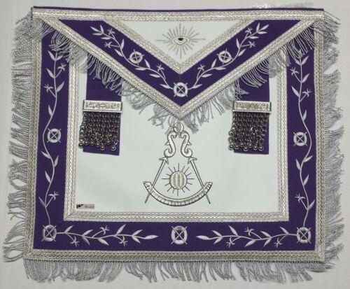 Masonic Apron -Past Master Apron Royal Purple Silver Embroidered & Fringe