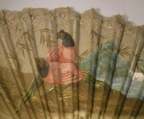 """Antique Chinese Large 15"""" Hand Painted Fan Birds Landscape Scenic Embroidered **"""