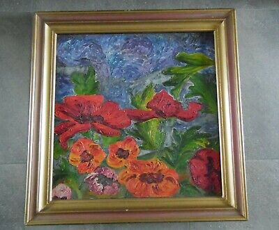 Brian Yates, Red Poppies, Large Vibrant Still Life c1975. Australian Listed. ()