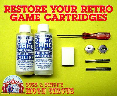 VIDEO GAME CARTRIDGE CLEANING KIT- POLISH- 3.8 & 4.5MM BIT- TRI-WING- BATTERIES