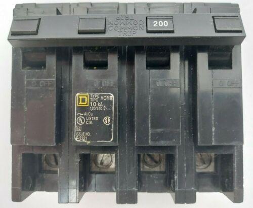 Homeline Main Breaker No HOM2200-0426 Square D 200 Amp 4 pole 120/240 volt
