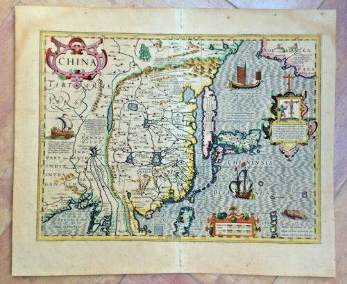 CHINA COREA JAPAN 1623 MERCATOR/HONDIUS LARGE UNUSUAL ANTIQUE MAP 17th CENTURY
