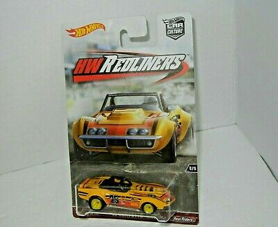 Hot Wheels '69 CORVETTE RACER w/Real Riders 2017 Car Culture HW Redliners