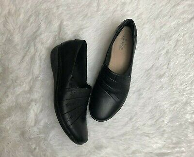 CLARKS Collection Black Leather Women's Slip-On Shoes size US 8 M