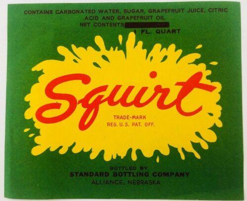 Vintage Squirt Soda Pop Bottle Label Older Splash Logo Alliance Nebraska NE