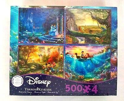 Thomas Kinkade 4-In-1 Disney 500 Pc Puzzle Lion King-Mickey-Cinderella-Mermaid