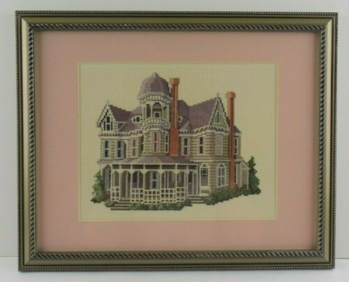 Completed Cross Stitch Victorian House Queen Anne Painted Lady Framed Wall Art
