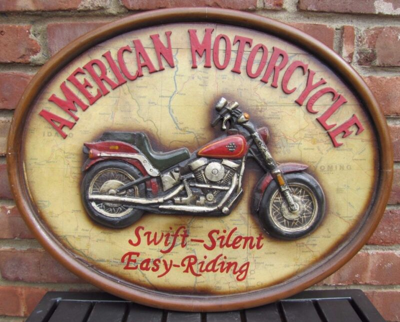 Vintage American Motorcycle Plaque Sign Swift-Silent Easy-Riding raised artwork