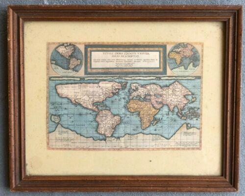 COLOR REPRODUCTION/PRINT OF 1589 DUTCH WORLD MAP BY CORNELIS DE JODE