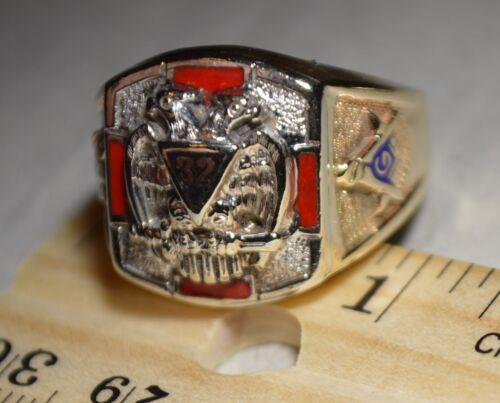 10K Yellow Gold 32nd Degree Color Masonic Mason Knights Templar Solid Back Ring