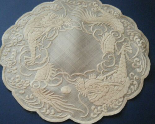 lot 2 Antique Doilies voile fabric China Dragons hand embroidered white/white