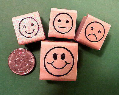 Teachers Rubber Stamp Set , 4 Smiley-Face Stamps