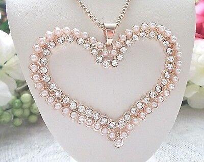 BETSEY JOHNSON BEAUTIFUL LARGE CRYSTAL PEARL HEART  PENDANT CHAIN (Betsey Johnson Crystal Drop Necklace)