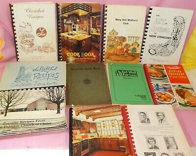 Lot of 12 Cookbooks Church Community Fund Raiser Vintage Spiral Paperbacks