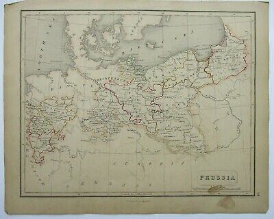 Antique Map of Prussia by William & Robert Chambers 1845