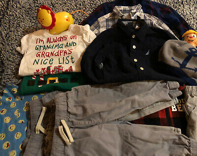 Assorted Lot Of Toddler Boys Clothes MIXED 12–18months With Toys 14 Pieces
