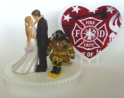 Firefighter Cake Topper (Wedding Cake Topper Fireman Firefighter Boots Axe Themed LH Bride Groom)