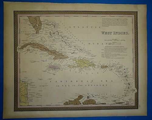 1849 S A Mitchell New Universal Atlas Map ~ CARIBBEAN WEST INDIES  Old Authentic