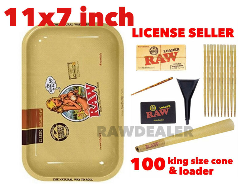 RAW Classic king size Cones(100 packs)+raw cone loader+raw 11x7 girl tray