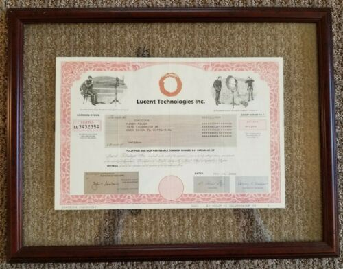 Lucent Technologies Inc. 2002 Common Stock Certificate 10 shares NICELY FRAMED