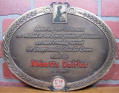 Old Abbotts Dairies Ice Cream Dairy Embossed Adv Sign Grocery Country Store for sale  Flemington