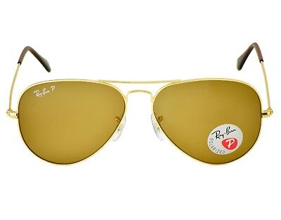 Ray-Ban RB3025 Aviator Classic 001/57 Gold Frame/Polarized Brown Classic B-15 (Ray Ban Gold Aviators Polarized)