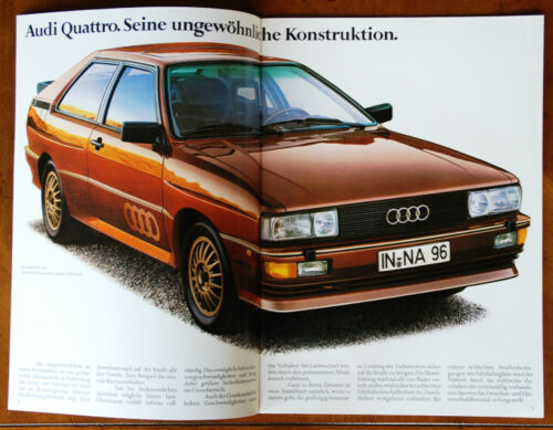 Audi Quattro brochure Prospekt, 1983 (German text)