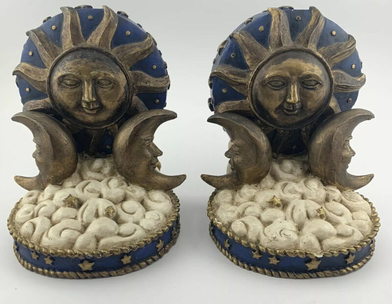 Sun Moon And Stars Celestial Bookends Chalkware Set of 2
