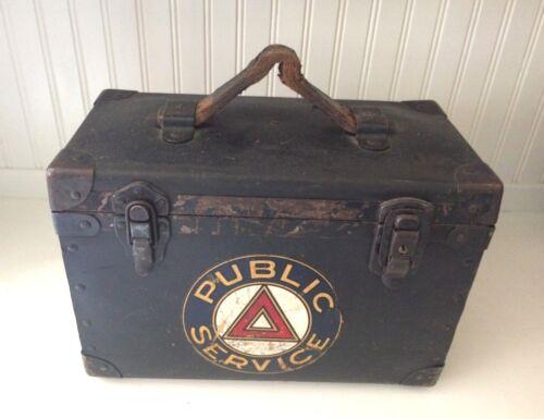 VINTAGE WW2 PUBLIC SERVICE UTILITY TOOL BOX-CIVIL DEFENSE-COMPOSIT-METAL-LEATHER